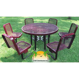 R466SP - 46 in. Round Expanded Picnic Table with 6 Attached Chairs