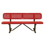 B6WBP-PERF-LC - Standard Perforated Metal Style Steel Plastisol Park Bench w/ Back Available in 4, 6, 8, 10 and 15 Foot