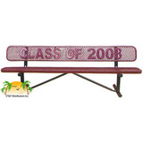 PB8WBP-LC - Standard Expanded Metal Personalized Steel Park Bench w/ Back Available in 4,6,8,10, & 15 Foot