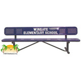 PB8WBP-PERF-LC - Standard Perforated Personalized Steel Park Bench w/ Back Available in 4,6,8,10, & 15 Foot