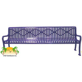 RF96D-LC - Decorative Diamond Steel Park Bench w/ Back