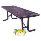 TF8XPP - Free Standing Expanded Metal Plastisol Metal Picnic Table
