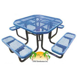 T46OCTP - 46 in. Octagonal Expanded Metal Style Plastisol Metal Picnic Table in Standard and ADA