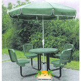 R36WCP - 36 in. Round Expanded Metal Plastisol Metal Picnic Table w/ Seats - Backed