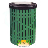 RF32D-LC - 32 Gallon Diamond Style Steel Thermoplastic Coated Trash Receptacle