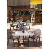 99525102 - Grosfillex Tokyo Stone Melamine Table with Colombo Armchair Set