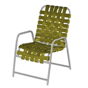 W0350CW  - Windward Country Club Crossweave Aluminum Vinyl Strap Patio Dining Chair w/ Arms-MOST POPULAR