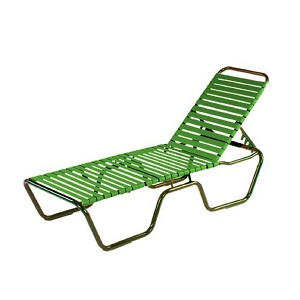 W0310 - 14.5 in. Seat Country Club Aluminum Vinyl Strap Chaise Lounge -MOST POPULAR COLLECTION