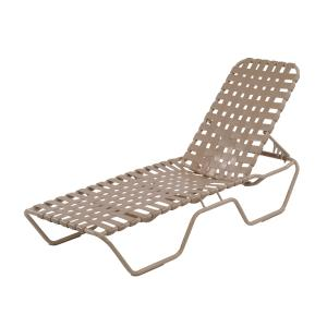 Country Club Aluminum Cross Weave Vinyl Strap Chaise Lounge Chair