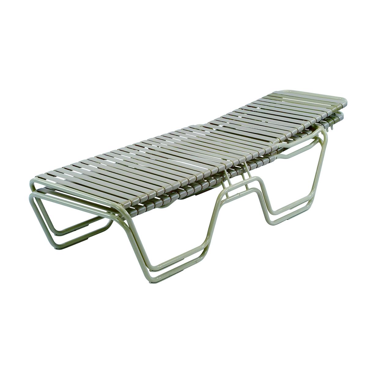 14 5 in seat country club aluminum vinyl strap chaise for Aluminum strap chaise lounge