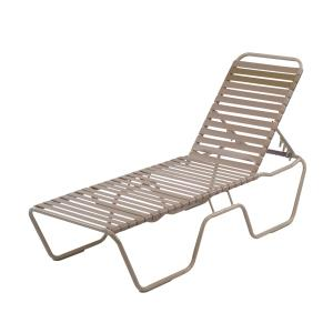 14.5 in. Country Club Aluminum Vinyl Strap Extended Bed Chaise Lounge