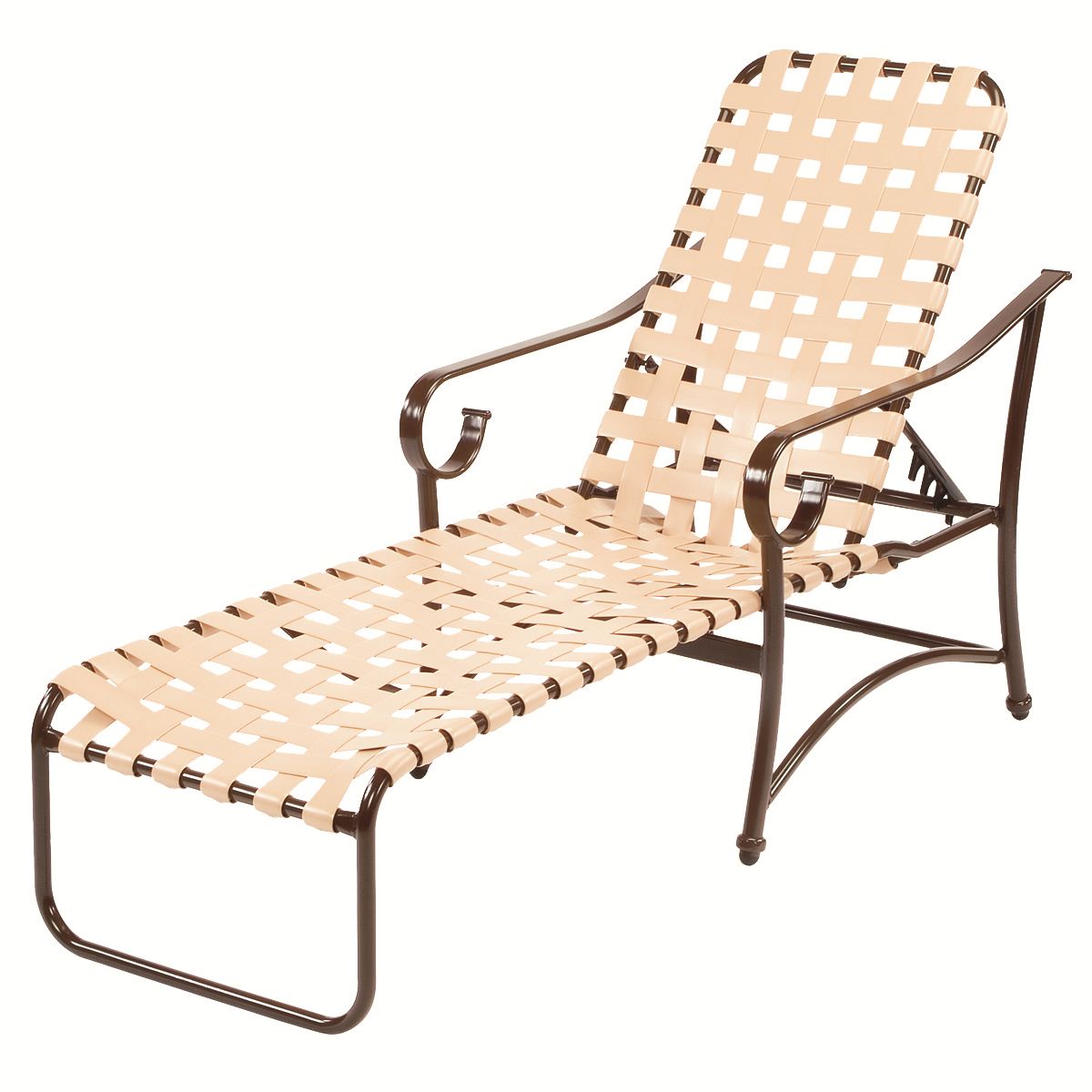 ... Vinyl Strap Chaise Lounge Chair W/ Arms. More Images